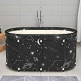 whiteswan Vasca da bagno portatile non gonfiabile, pieghevole, in PVC/SPA, autoportante, spessa, pieghevole, in plastica, per adulti, vasca da bagno per sauna (80-100 cm)