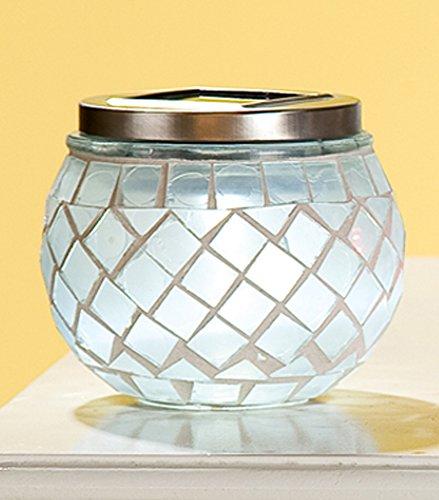 GILDE Windlicht Glas Mosaik Solar LED 3-sort (Nr.1)