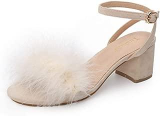 Women Sandals Shoes Fur High Heels Footwear Ankle Sandals Party Wedding Dress