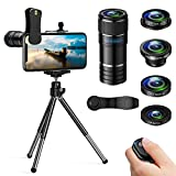 ARORY 5 in 1 Phone Camera Lenses, 12x Telephoto Lens + 0.65x Wide Angle & Macro Lenses + 180° Fisheye Lens + Star Filter Lens,compatible for iphone&Samsung &Huawei&Smartphones+Mini Tripod