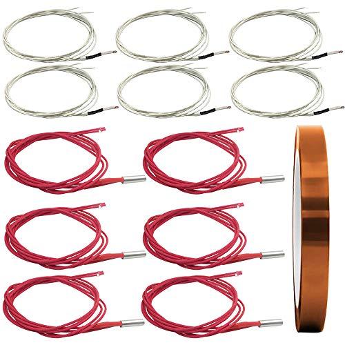 AFUNTA 12 PCS 12V 40W 620 Calentador de Cartuchos de Cerámica y Termistor NTC 100 K 3950 Fit 3D Impresora & Heat Cinta adhesiva de poliimida resistente a altas temperaturas para tareas eléctricas