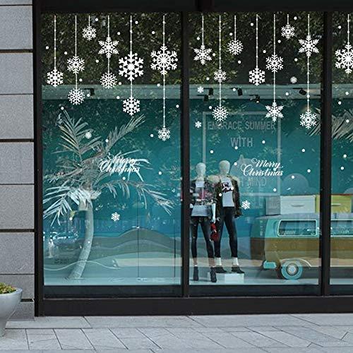 Adorno de copo de nieve navideño Ventana de vidrio Copo de nieve Decoración de fondo Pegatinas de pared extraíbles Decoración de la casa Etiqueta de la pared
