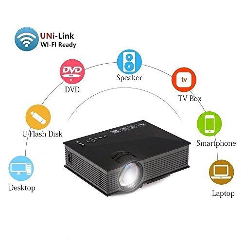 UVISTAR UC46 Mini Beamer LCD LED Portbaler HD Projektor WiFi TV Heimkino Videoprojektor Unterstützt 1080P USB/SD/AV/HDMI/VGA/IR 1200 lumens für zu Hause, Unterwegs Konferenzrunde Party Unterhaltung