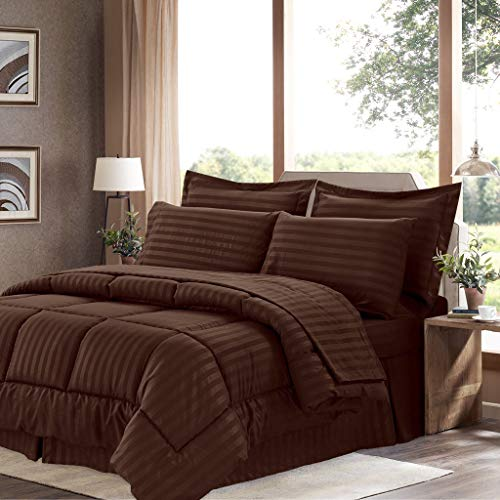 bed bath n more Wrinkle-Resistant Soft Dobby Striped Down-Alternative 8-Piece Bed in a Bag with Sheet Set Chocolate King
