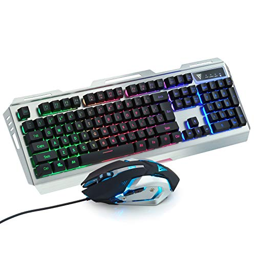 GREENTREEN Tastiera da gioco, con cavo e finitura in lega di alluminio, multi-colore RGB, con il mouse