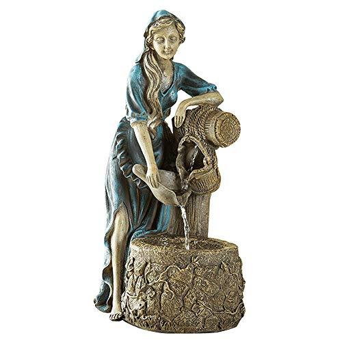 LXDDP Garten-Wasserspiel, das Pool-Mädchen-Statue-Krug an der Brunnen-Figur wünscht