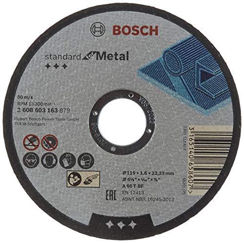 Bosch 2 608 603 163 - Disco de corte recto Standard for Metal - A 60 T BF, 115 mm, 22,23 mm, 1,6 mm (pack de 1)