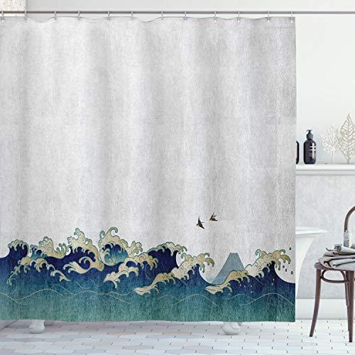 Onda japonés cortina de ducha por Ambesonne, acuático espirales pájaros de océano Ukiyo-E estilo arte grunge impresión, tela Set de decoración de baño con ganchos 180cm