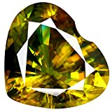 Deluxe Gems 2.91 CT PGTL Certified AAA+ Grado Grade Heart Cut (10 x 9 mm) Espuma de Color Amarillo Verdoso sin Calentar Natural de Sphene