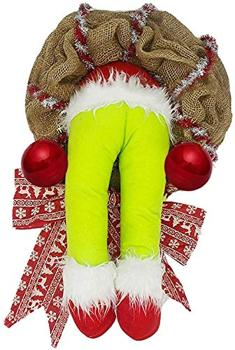 Fun Friendly Decorations for the Winter Window of Santa Claus Doll Garland Christmas on the Gate of Santa Claus Doll Balancing Faceless Plush Leg-Tall