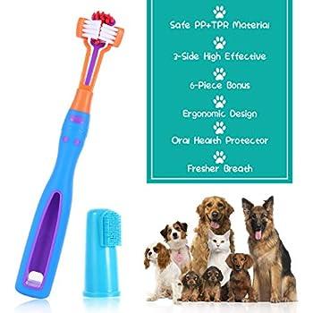 Nettoyage teethbrush Animaux, kit de Brosse à Dents Animal familier 3-tête Brosse à Dents pour Animaux de Soins dentaires pour Animaux