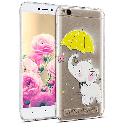 Uposao Kompatibel mit Hülle Xiaomi Redmi 5A Silikon Handyhüllen Schöne Muster Durchsichtige Ultradünn Schutzhülle Transparent Silikon Bumper Clear Backcover,Weiß Elefant