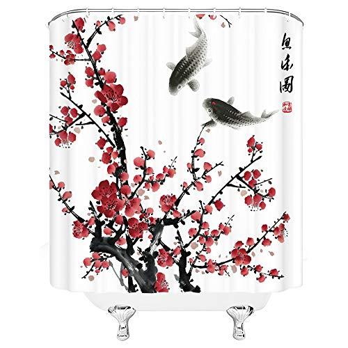 Jingjiji Asian Decor Shower Curtain Red Plum Blossom Bloom Trees Branch Koi Tradition Antique Japanese Ink Painting Art Abstract Natural Bathroom Decoration Polyester Fabric (White, 70 X 70 Inch)