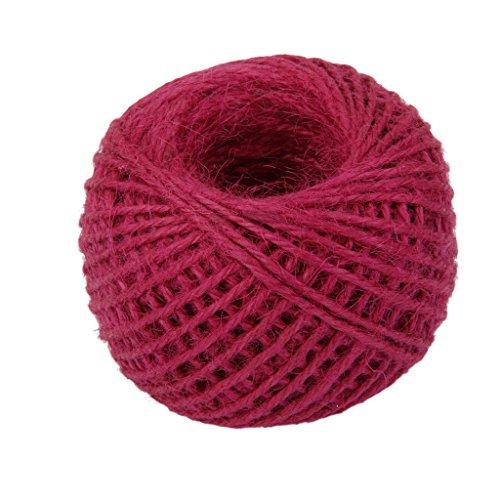 joyMerit Varios 50 M de Yute Arpillera Cuerda de Hilo DIY Artesanía Scrapbooking Decoración 20 Colores - Rosa roja, Individual