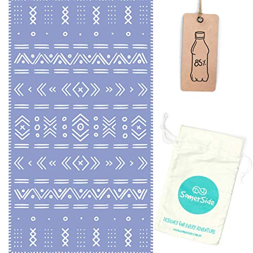 SOMERSIDE Sustainable Sand-Free Microfibre Towel for Beach, Travel, Yoga, Outdoors. Large (63x35) Quick Dry Eco Towels Made from Recycled Plastic Bottles w/Hidden Zip Pocket (Tribal)