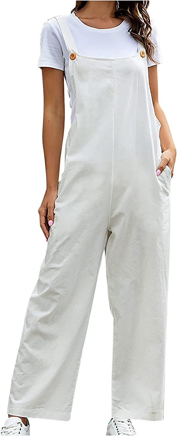 Yuege Womens Retro Overalls Rompers Max 45% OFF Cotton Solid Easy-to-use Jumps Suspender