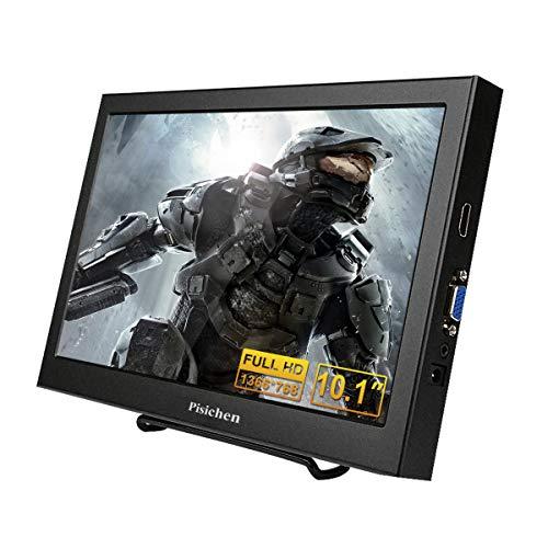 Tragbarer Monitor, Pisichen 10.1 Zoll VGA Portable Monitor HD 1366 x 768 IPS LCD/LED tragbarer Bildschirm mit HDMI VGA Port, Lautsprecher eingebaut, Metallgehäuse schwarz