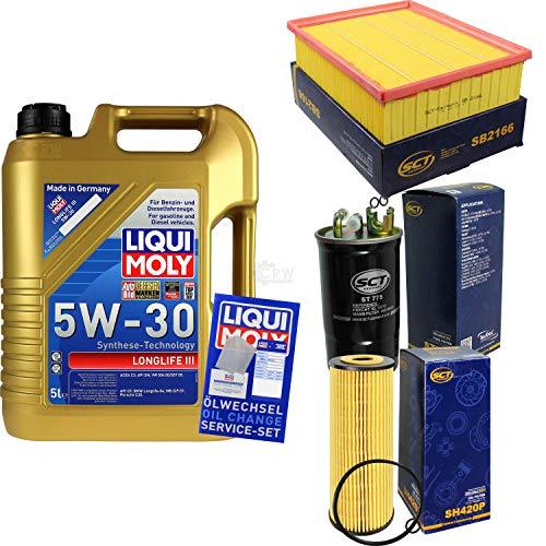 Filter Set Inspektionspaket 5 Liter Liqui Moly Motoröl Longlife III 5W-30 SCT Germany Kraftstofffilter Luftfilter Ölfilter