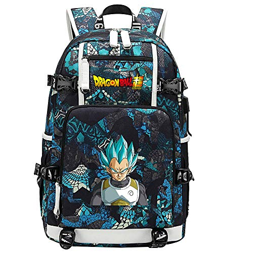 ZZGOO-LL Dragon Ball Son Goku/Vegeta IV/Torankusu Anime Backpack Middle Student School Rucksack Daypack for Women/Men with USB-E