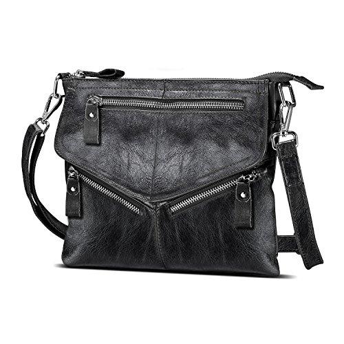 Lecxci Women's Small Vintage Leather Cross body Handbags, Zipper Travel Crossbody Bags Purses for Women (Black)