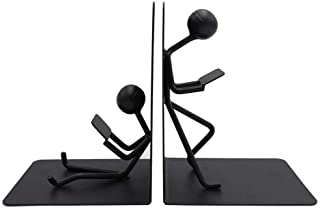 Agirlgle Bookends Decorative Book Ends Metal Black Heavy Duty Man Bookend Studious Reading Book end Bookshelf Decor for Be...