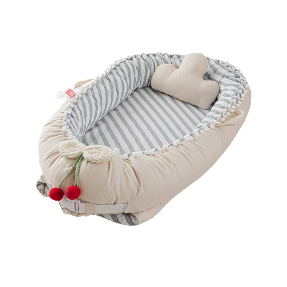 Baby Lounger Baby Nest, Striped Baby Bassinet Bed, Breathable Portable Crib Newborn Baby Nest Sharing Co Sleeping/Traveling