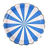 Meri Meri(メリメリ) 使い捨て食器 ブルー 約直径22.5cm ペーパープレート ストライプ 157078 (45-2820) 8枚入