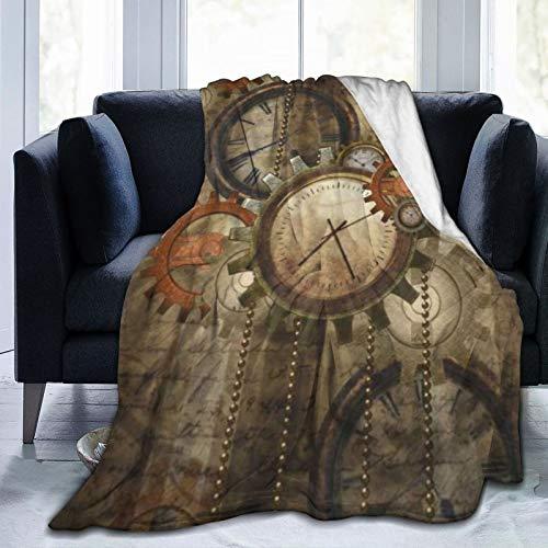 KOSALAER Bedding Manta,Relojes y Engranajes Hermosa tecnología mecánica Punk,Mantas cálidas de Sala de Estar/Dormitorio Ultra Suaves para Todas Las Estaciones