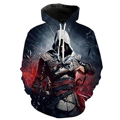 3D Assassin'S Creed Capucha Camisa de Entrenamiento Unisexo Manga Larga Camisas Top Transpirable Suéter-A_3XL