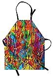 ABAKUHAUS Moderno Delantal de Cocina, Líneas Curvas Coloridas Tipo Arcoiris Arte Estilo Pintura al Óleo Contemporánea, Lavable Resiste Grasa Suciedad Polvo Colores Duraderos, Multicolor