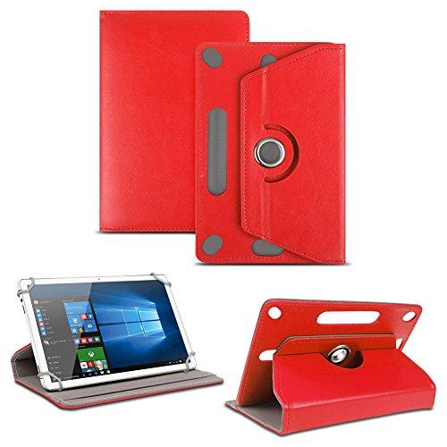 NAUC TrekStor SurfTab Twin 10.1 Tablet Tasche Standfunktion Hülle Tablet Schutzhülle Stand Etui Cover Schutz Hülle Farbauswahl 360° drehbar hochwertiges Kunst-Leder, Farben:Rot