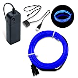 SZMAITOU Blue Neon Lights EL Wire with Battery Pack USB Driver, 16FT EL Strip Light 12V for Parties, Vehicle Decoration, Home Decoration, Holiday, Cosplay Dress - 5m/16ft, Blue