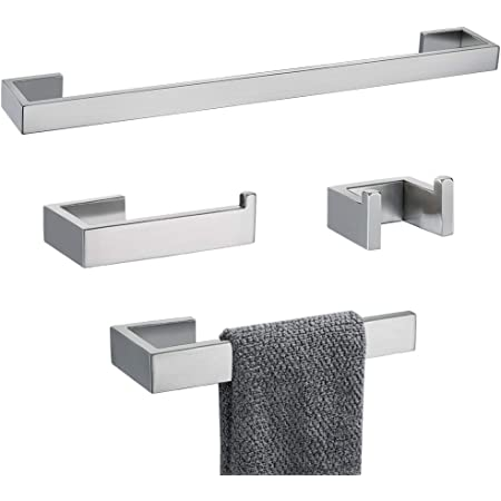 Amazon Com Tnoms 4 Pieces Bathroom Hardware Accessories Set Towel Bar Towel Holder Robe Hook Toilet Paper Holder Stainless Steel Q8 P4br Kitchen Dining
