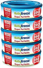 Diaper Pail Refill Bags for Playtex Diaper Genie - 1400 Count (5-Pack) - By BabyBreeze