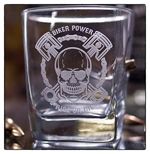 KolbergGlas Handmade Graviertes Whiskyglas für Motorradfahrer mit echter Kugel Cal.308