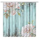 Rustic Teal Floral Shower Curtain Wild Pink Flower Romantic Rose on Vintage Teal Old Shabby Wooden Board Retro Pastel Spring Plant Country Fabric Bathroom Decor with Hooks,71x71 Inch,Blush Turquoise
