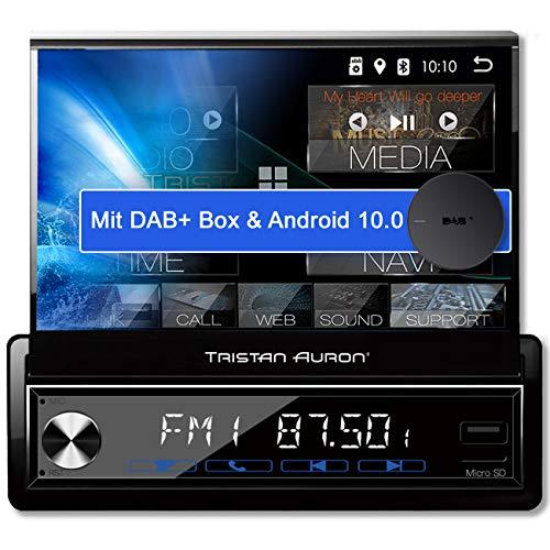 Tristan Auron BT1D7027A Android 10 Autoradio + DAB Plus Box - ausfahrbares I 7'' Touchscreen Display I GPS Navi Bluetooth Freisprecheinrichtung I USB SD OBD 2 I 1 DIN