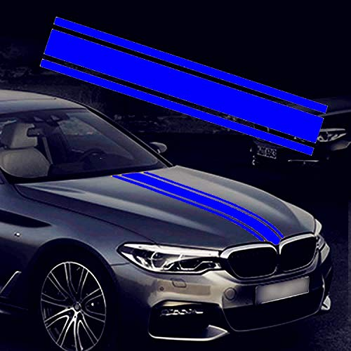 Freely 50'x 10' Car Hood Stripe Sticker Auto Racing Body Side Stripe Decal Skirt Roof Hood Bumper Stripe Decal Vinyl Modified Stripe Decal Decoration for Car (Blue)
