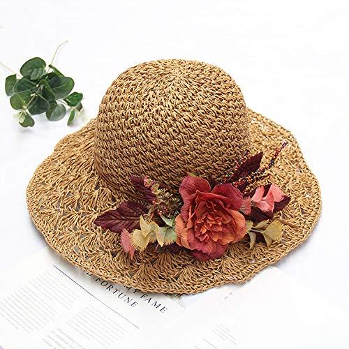 Sombrero INS mujer literario crochet sombreros de pescador correa de flores sombrero de paja visera de playa verano gran sombrero para el sol-Card_adjustable