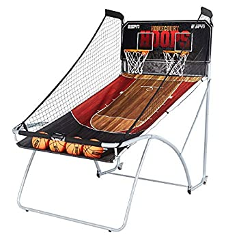 ESPN EZ Fold Indoor Basketball Game for 2 Players with LED Scoring and Arcade Sounds  6-Piece Set  Black  1658128