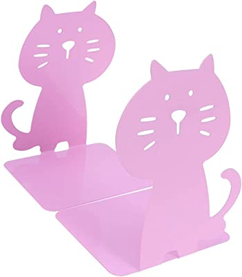LIOOBO Pair Bookends Yellow Cat Decorative Metal Bookends Non Skid Magazines Documents CDs Ornament for School Office Home
