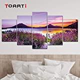 HD prints 5 pieces picture modular beautiful landscape lavender flowers sea wall poster modern picture mural wall decor Artworks(size1)