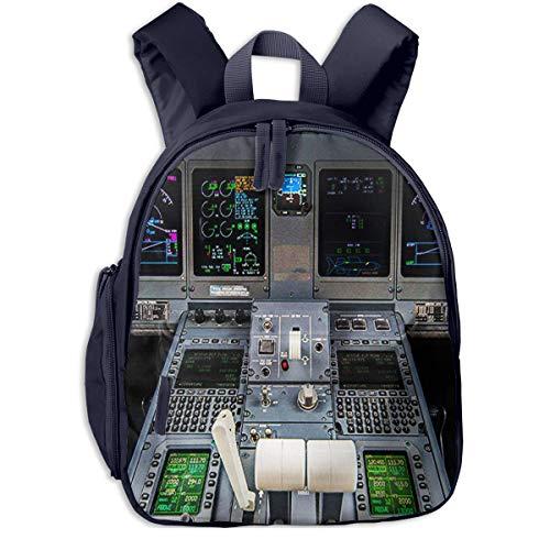Kinderrucksack Flugzeug-Cockpit, Schulrucksack Für Mädchen Und Jungen Schultasche Schulranzen Teenager Backpack Daypack Freizeitrucksack Kinder Rucksack