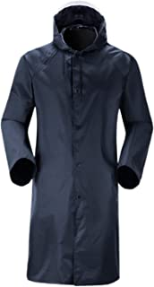 F Fityle Men's Rain Jacket with Hood, Waterproof Lightweight Active Long Raincoat for Hiking Fishing