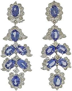 Orecchini Chandelier Diamanti e Tanzanite, Oro Bianco