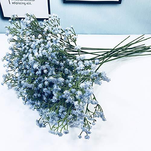 10 Pcs Real Toque Látex Artificial Gypsophila Paniculata Flor para El Boda Casamiento Decoración Arreglo,Azul