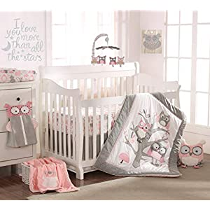 Levtex Baby – Night Owl Pink Crib Bed Set – Baby Nursery Set – Pink, Grey, White – Owls in a Tree – 5 Piece Set Includes Quilt, Fitted Sheet, Diaper Stacker, Wall Decal & Crib Skirt/Dust Ruffle