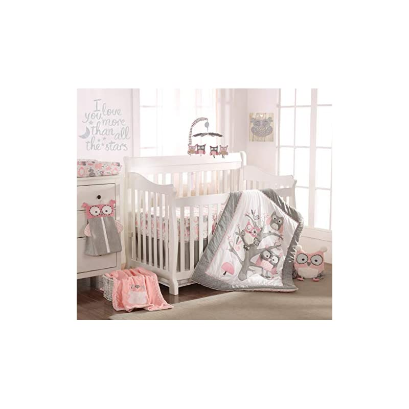 crib bedding and baby bedding levtex baby - night owl pink crib bed set - baby nursery set - pink, grey, white - owls in a tree - 5 piece set includes quilt, fitted sheet, diaper stacker, wall decal & crib skirt/dust ruffle