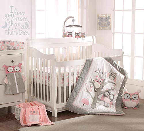 Levtex Baby - Night Owl Pink Crib Bed Set - Baby Nursery Set - Pink, Grey, White - Owls in a Tree - 5 Piece Set Includes Quilt, Fitted Sheet, Diaper Stacker, Wall Decal & Crib Skirt/Dust Ruffle