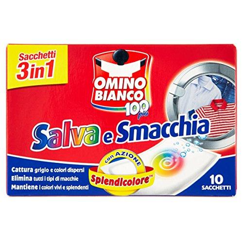 Omino Bianco - Salva e Smacchia, Sacchetti Lavatrice 3 Azioni in 1 con Effetto Smacchiante e Cattura Colore, 1 Confezione x 10 Pezzi